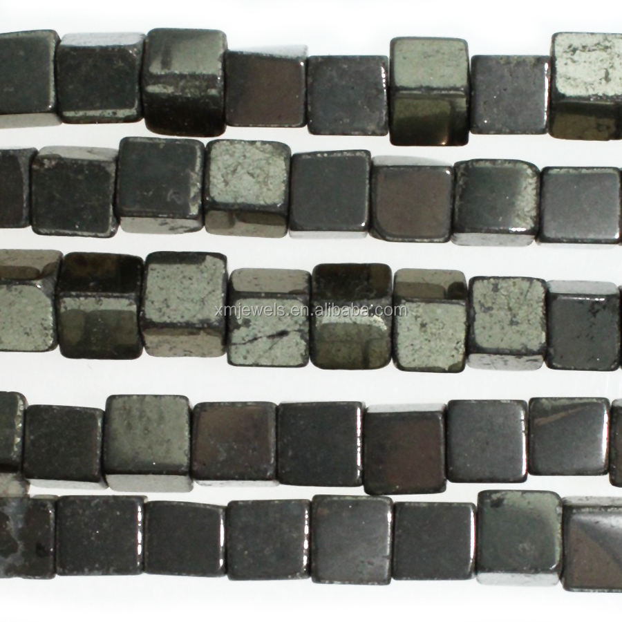 Pyrite naturelle Cubes perles 6mm