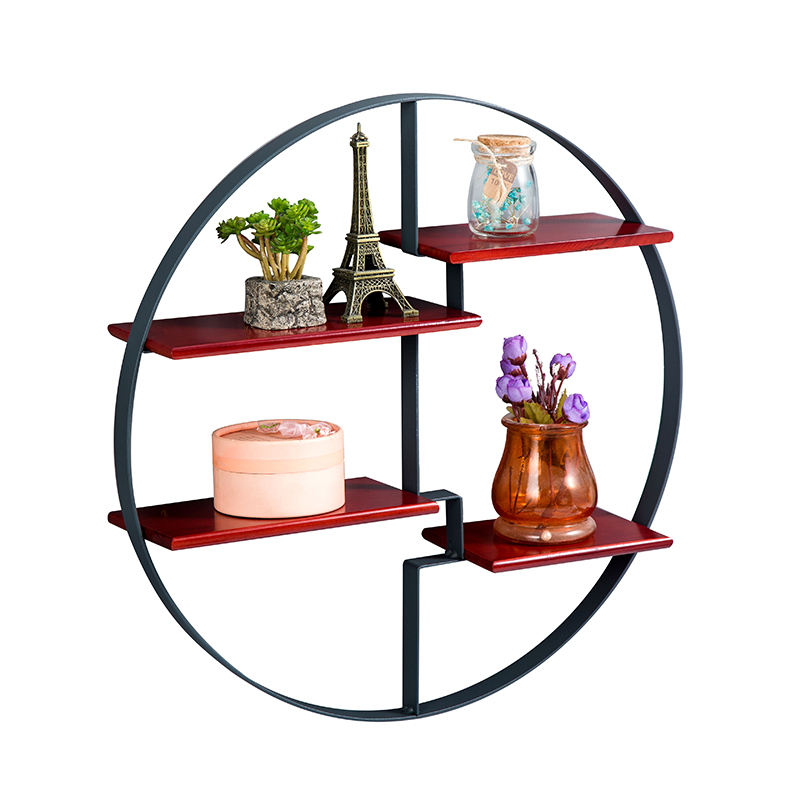 Europe market home wall shelves iron wood rounded garden antique wall shelf