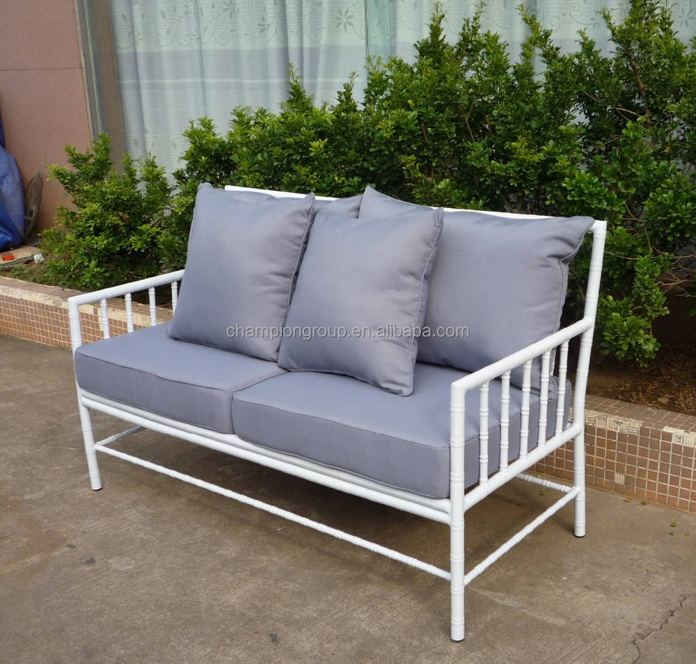 White Aluminum bamboo Outdoor 4pcs Sofa set