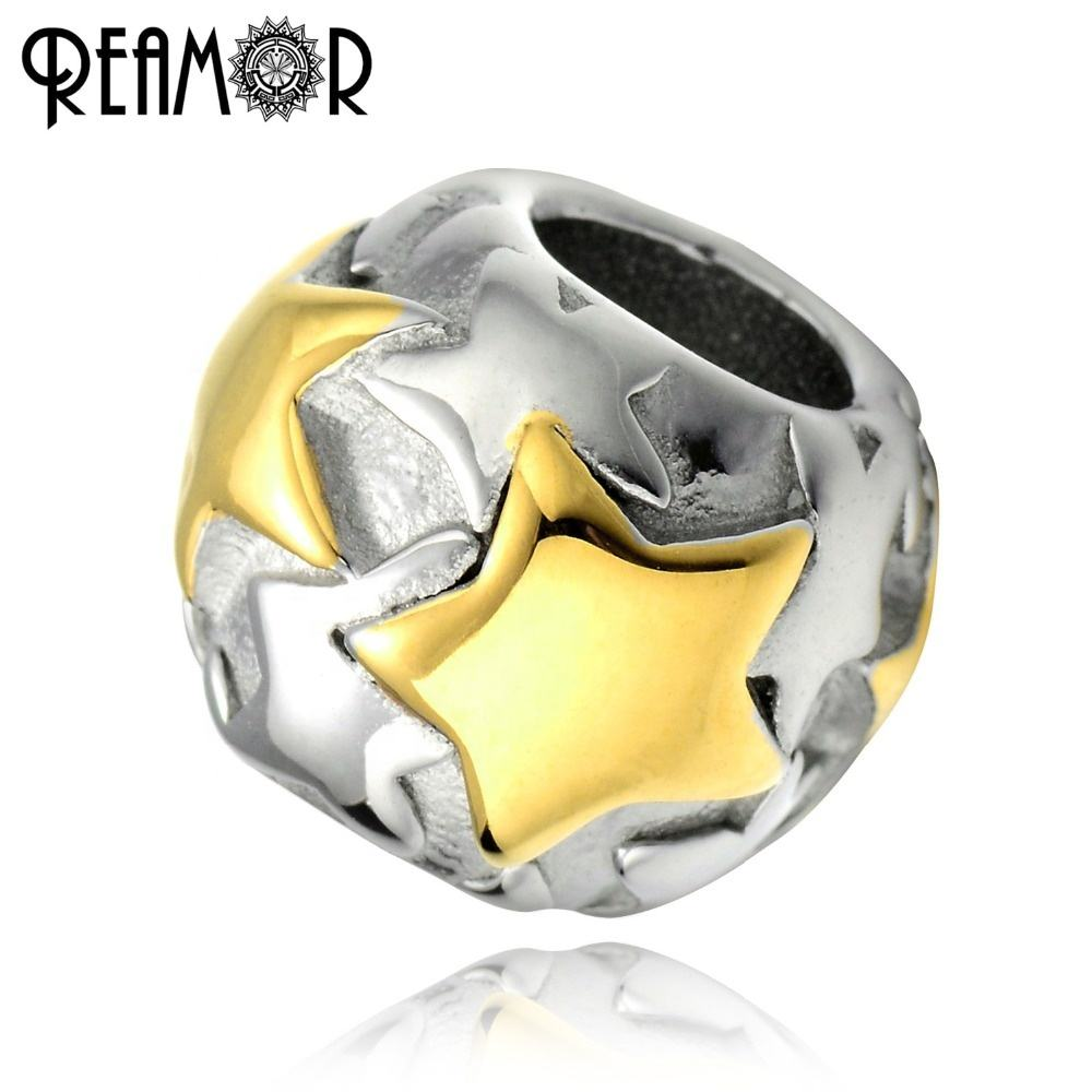 REAMOR 316 Stainless Steel 18k Gold Plate Round Bead Star European Spacer Charms Beads For Bracelets DIY Jewelry Making Findings