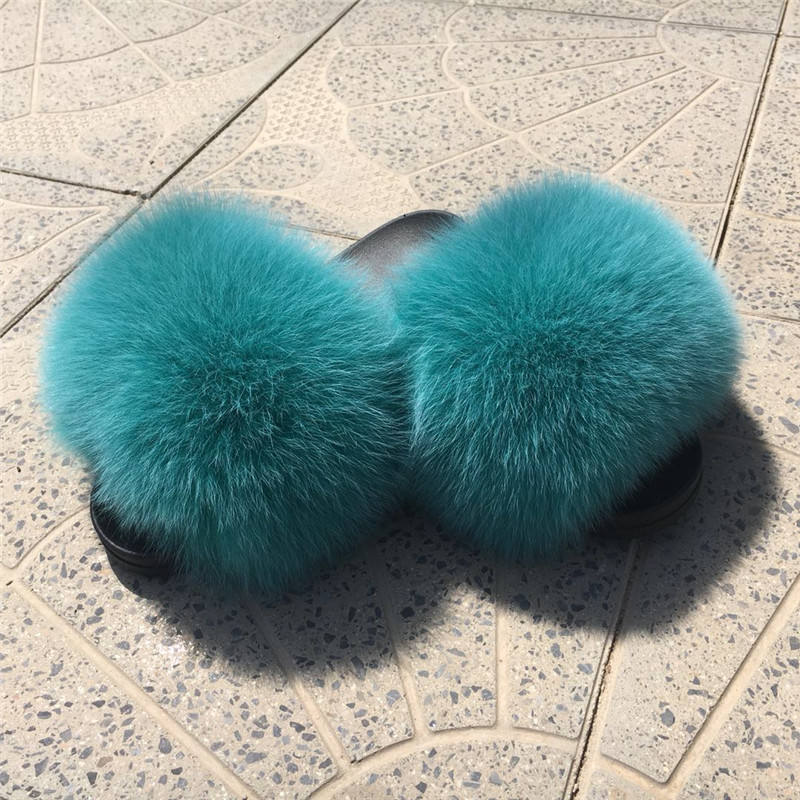 2018 pink color indoor soft fur Slide slippers for women