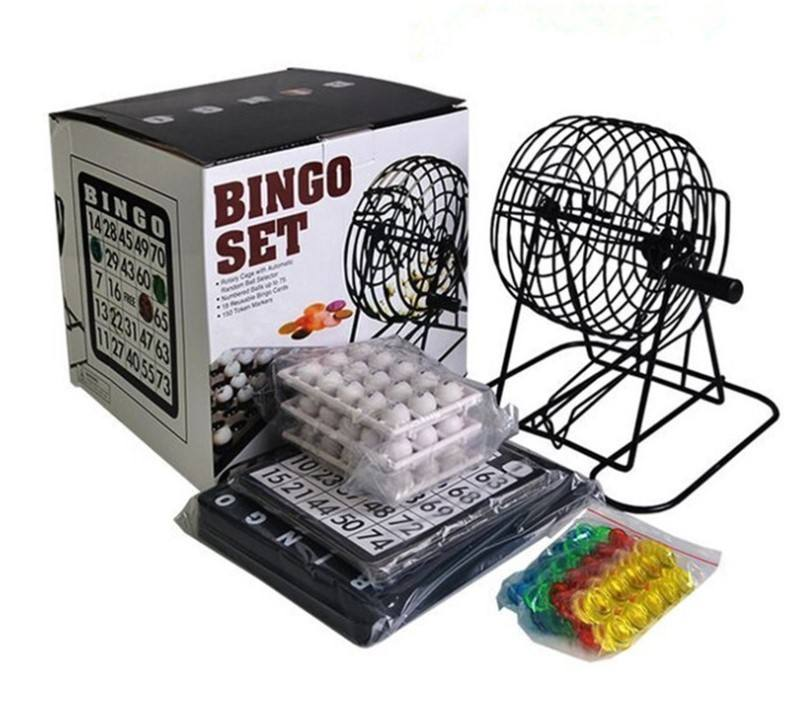 Gaming Game Bingo Game Set - 8-Inch Metal Cage with Plastic Masterboard, 75 Multi-Color Bingo Balls, Bingo Cards and Bingo Chips