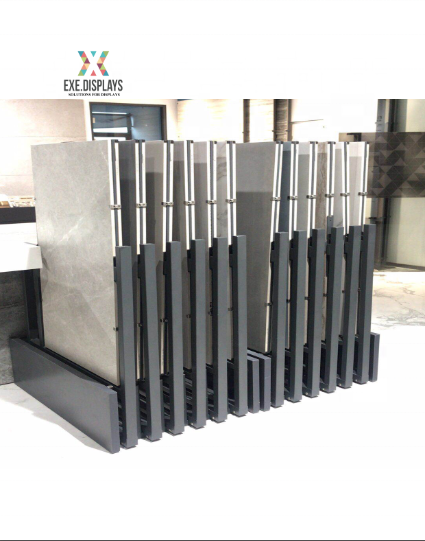 Rotating marble display standee sliding tile quartz stone showroom display racks