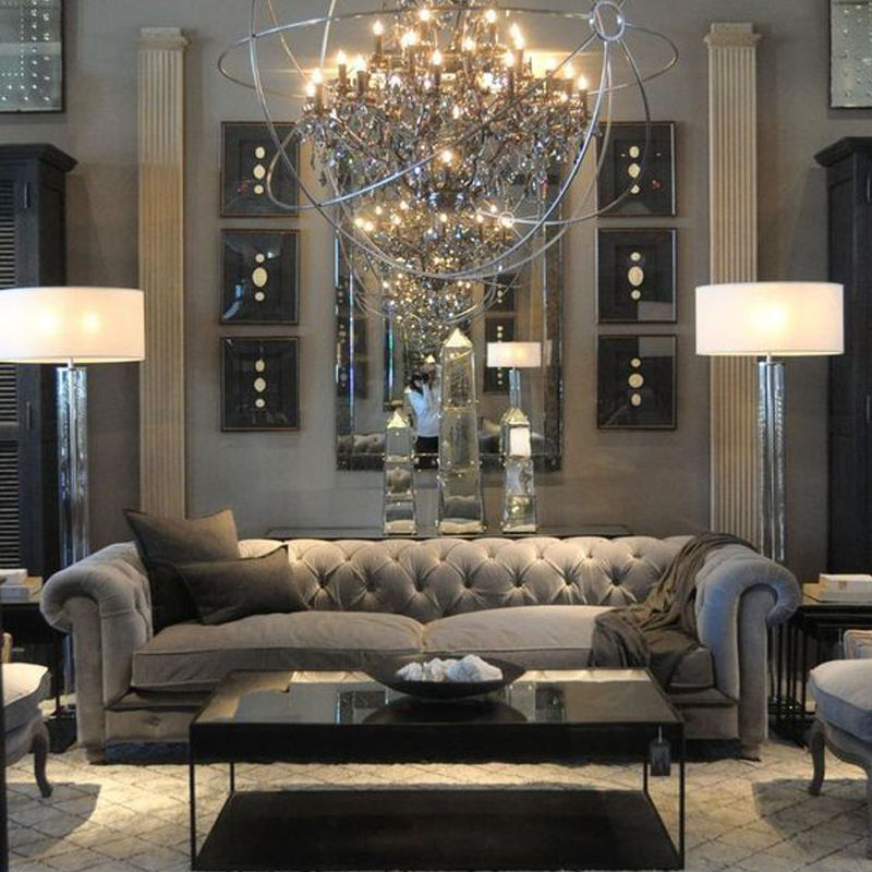 Custom High End Luxury Sofa Mirror Furniture Oversize Sofa Villa Sofa