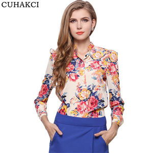 Autumn Shirts Fashion Women Floral Printed Stand Vintage Cotton long Sleeve Elegant Chiffon Shirt Casual Slim Latest Blouses