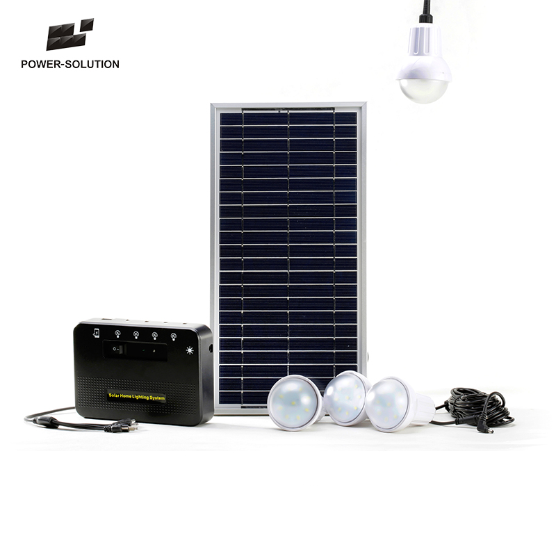4 lamps solution mobile phone charging solar power lighting system for home in rural & remote areas
