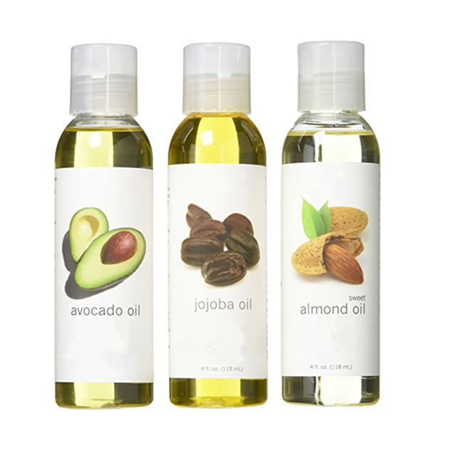 Private Label Carrier oil 3 gift Set Jojoba Avocado Almond 4oz Each