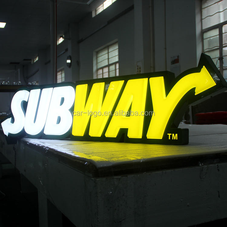 Outdoor illuminated back lit acrylic plastic advertising board letter sign sign brightness and waterproof