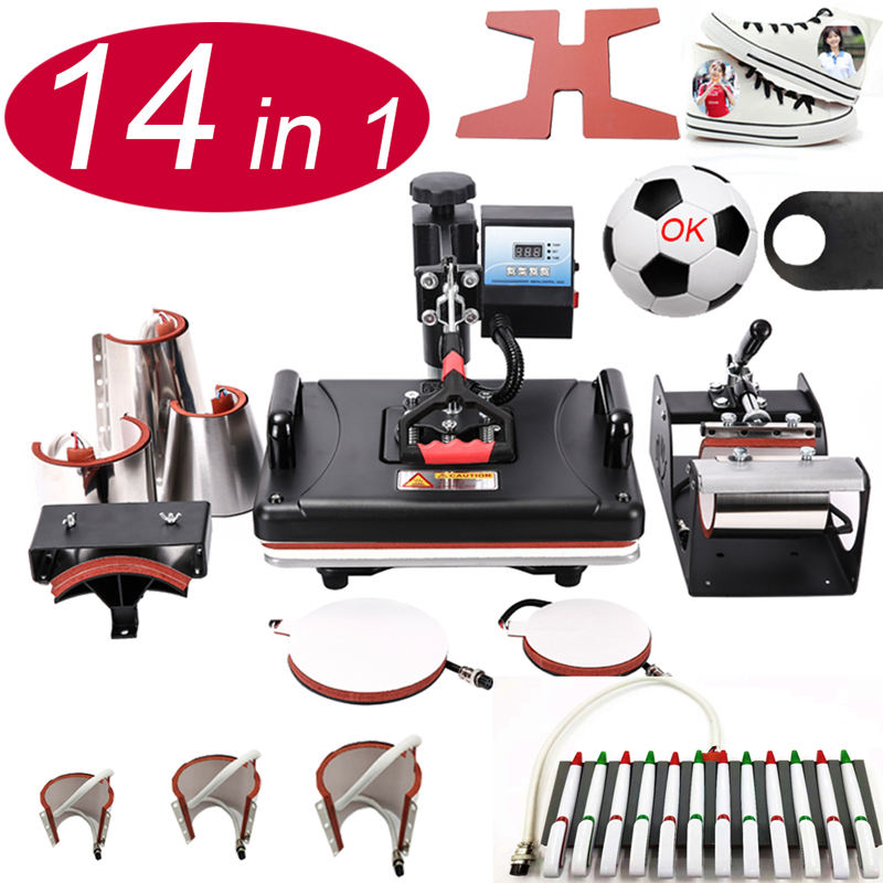14 In 1 Heat pen Press Machine,Sublimation Printer shoe Transfer Machine Heat Press For Mug Cap Tshirt shoe bottle pen football