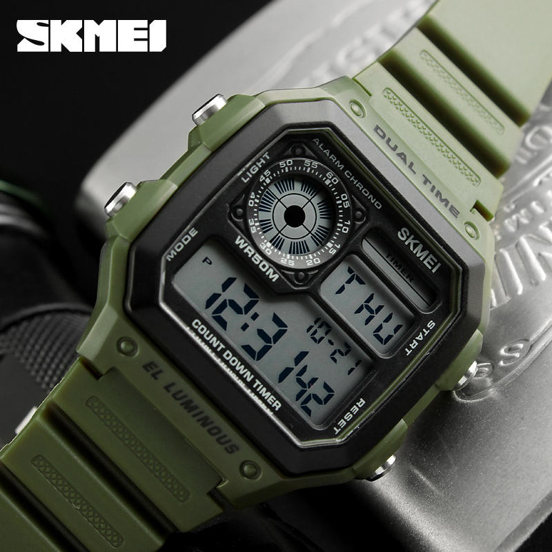 China Jam Tangan supplier SKMEI 1299 Dual time wristwatches digital watch big face digital watches