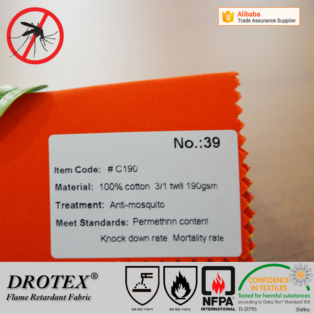 soft handle pure cotton mosquito proof fabric for outdoor workers