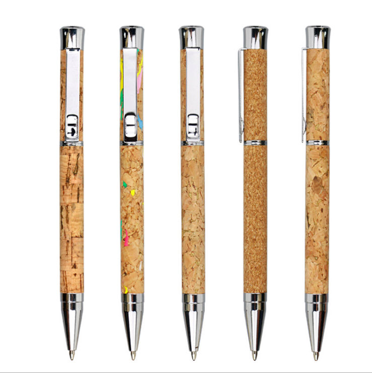 Custom Logo Luxury Creative Cork Pen Personalized Wooden Metal Ball Point Gift Pen Wood Ballpoint Pen Eco Friendly High Quality