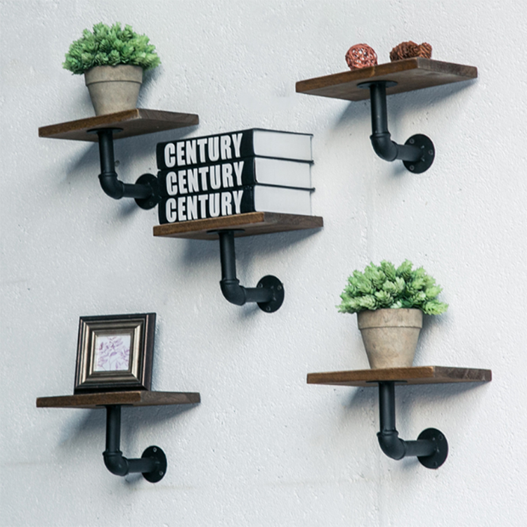 Floating Metal Black Wrought Iron Slatwall Farmhouse Decorative Corner Support Bracket Rustic Wall Mounted MJ-B1015