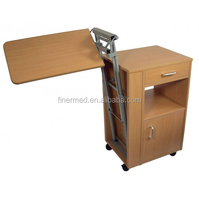 Wooden hospital bed table with drawer