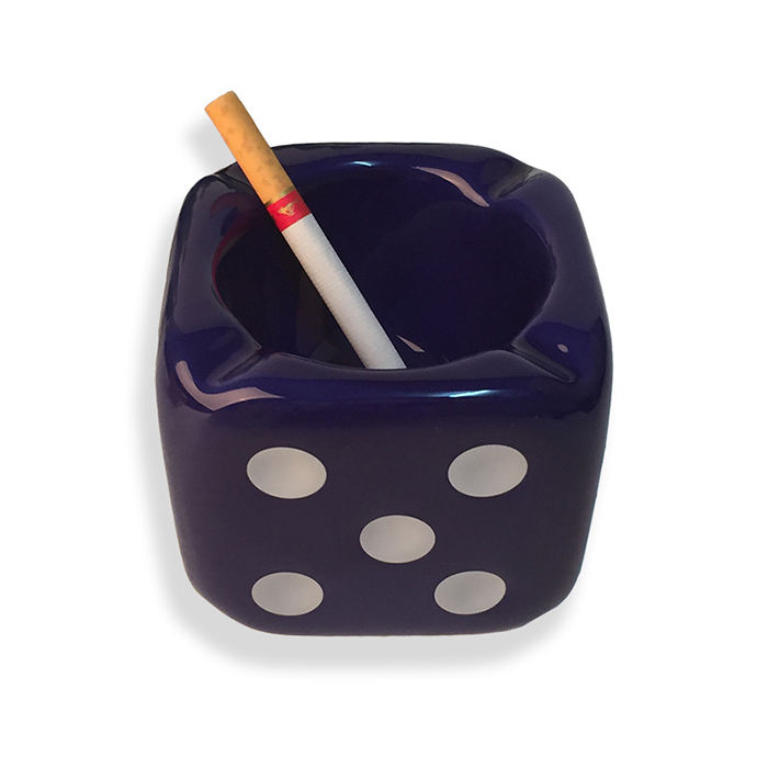 Dice Design Cube Glazed Ceramic Ash Tray For Table Used