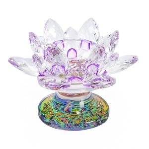 Wholesale crystal glass lotus flower tealight candle holder in gift box