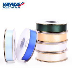 Yama Factory Fashion Packing Accessories 9mm Gold Metallic Edge Satin Ribbon