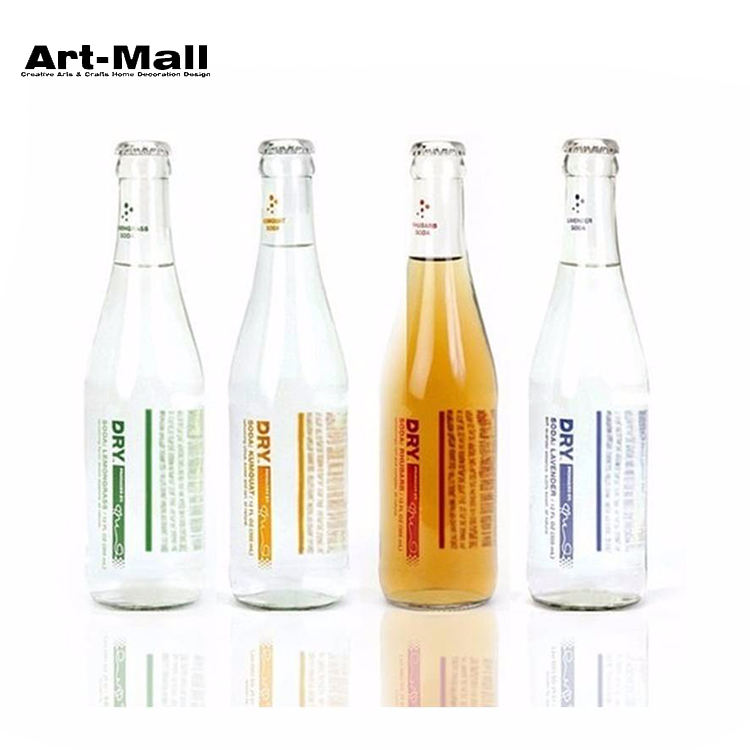 Best selling round shape 330ml glass transparent beer bottle with tin cap
