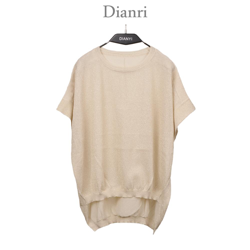 lady high low hem shinning short sleeve summer knit i shirt thin knitted wear top