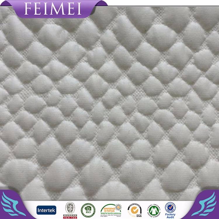 Feimei 92% poliestere 8% spandex maglia jacquard tessuto scamosciato con pu
