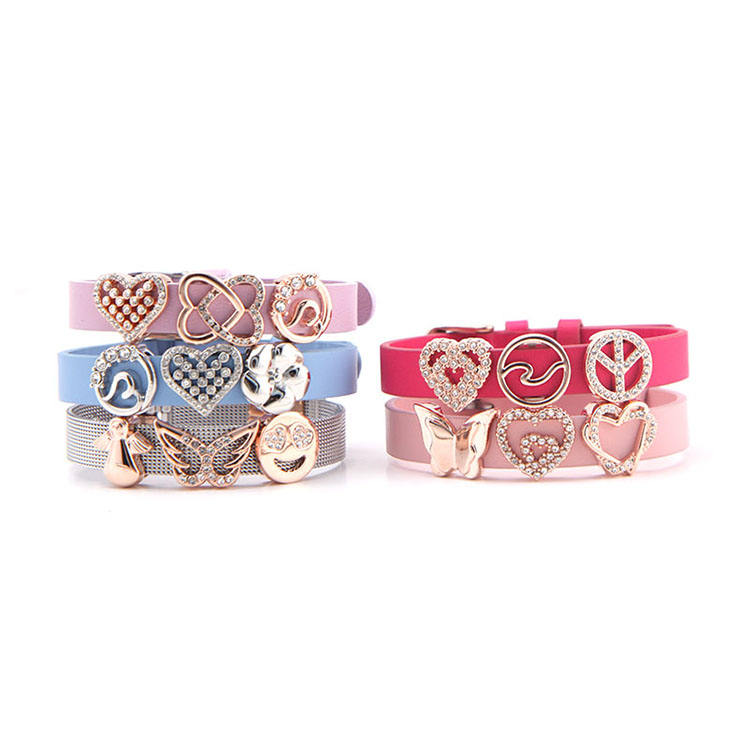 New arrivals slide charms heart flower charms blue leather bracelet wholesale alibaba