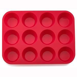 Non stick silicone 12 cup muffin cake mold Non toxic silicone microwave oven cake pan