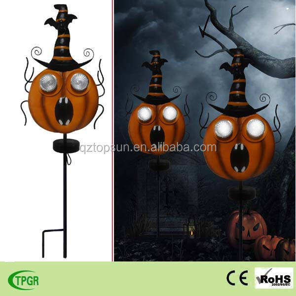 Halloween Metalen Pompoen Led Solar Stake Light Voor Tuin Gazon Decoratie