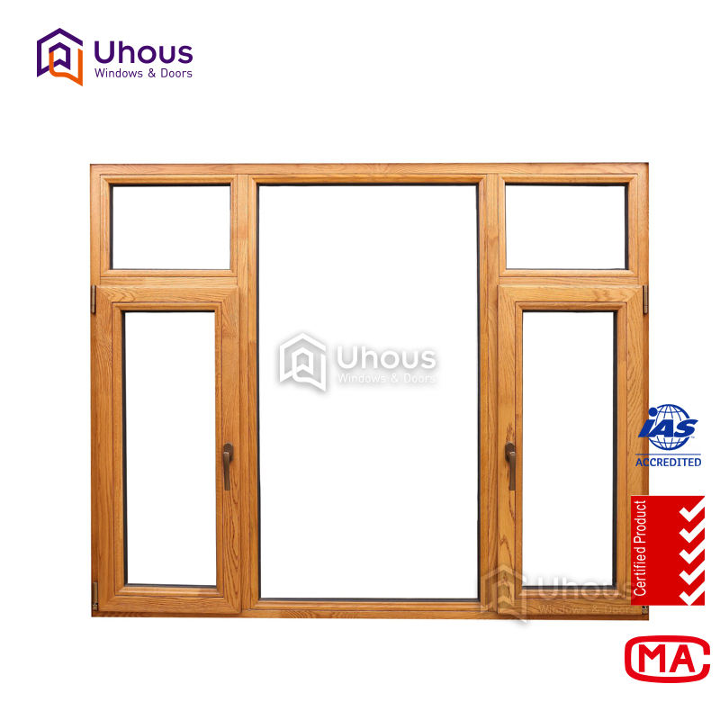high quality aluminium wood frame window new design