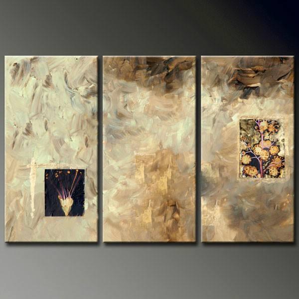 Abstrata ouro satellite foto 3 panel pintura a óleo sobre tela home decor