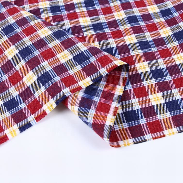 Men shirting stock summer yarn dyed check shirt fabric in india for shirts