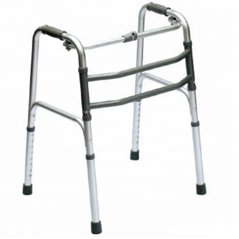 Aluminium Foldable Walker with single button for elderly and disabled