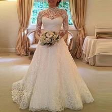 2019 new cheapest white dacron dress lace long sleeve wedding dresses