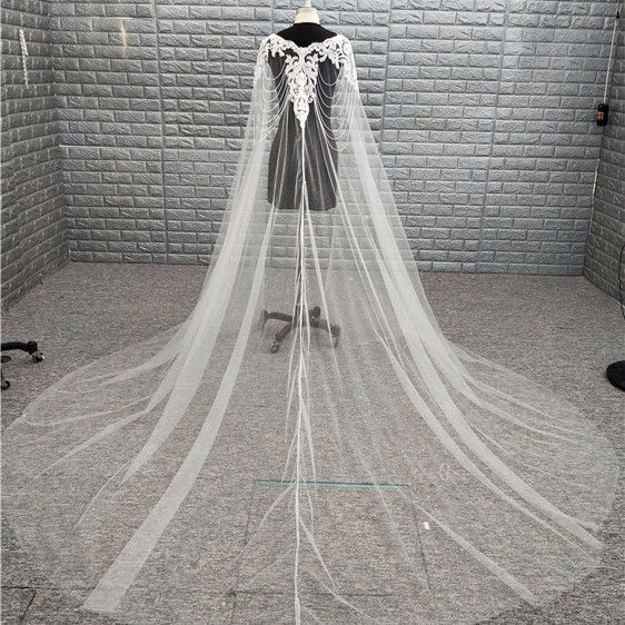Luxury Beading Cathedral 3 Meters Long Bridal Veils White Ivory Lace Applique Sequins Customized Wedding Veil