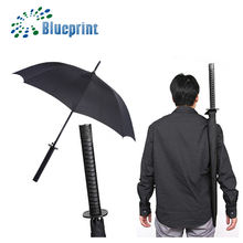 Japanese Style Automatict black samurai Sword Umbrella With Shoulder Strap