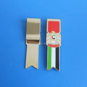 gold plated UAE flag and falcon money clip, custom money clip for UAE national day