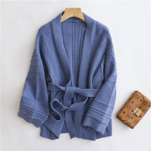 wool cashmere knitted lady cardigan sweater coat with belt