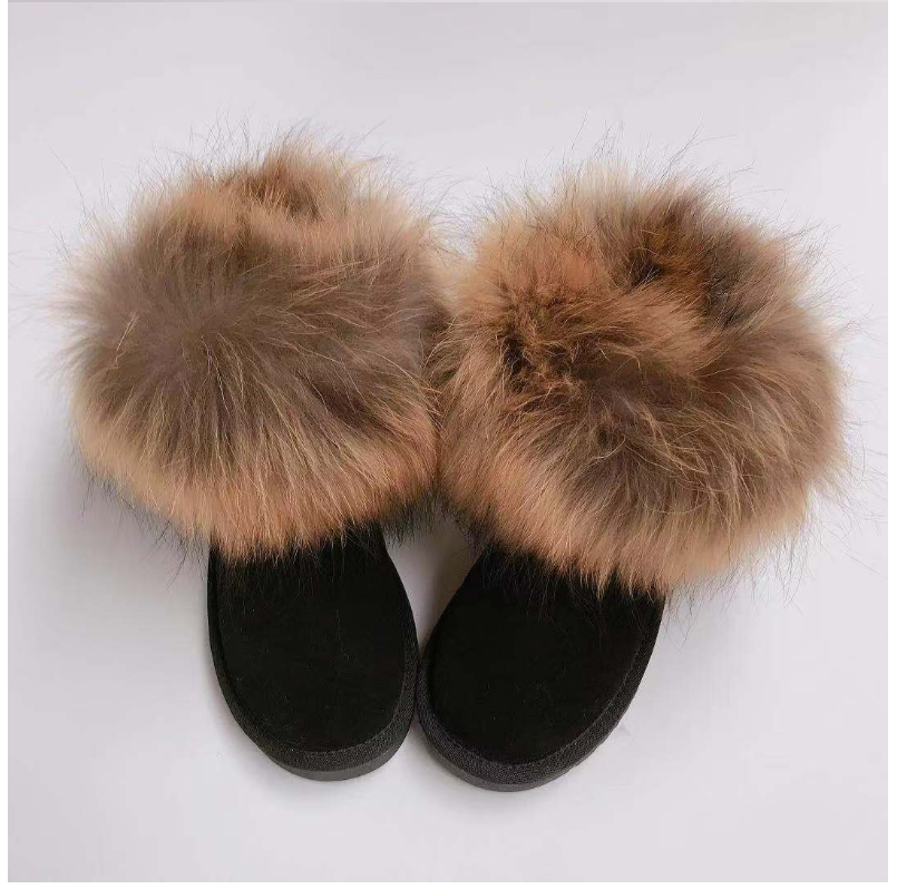 2019 New Fashion Many Colors Genuine Cow Leather Raccoon Fur Warm Snow Winter Boots Women