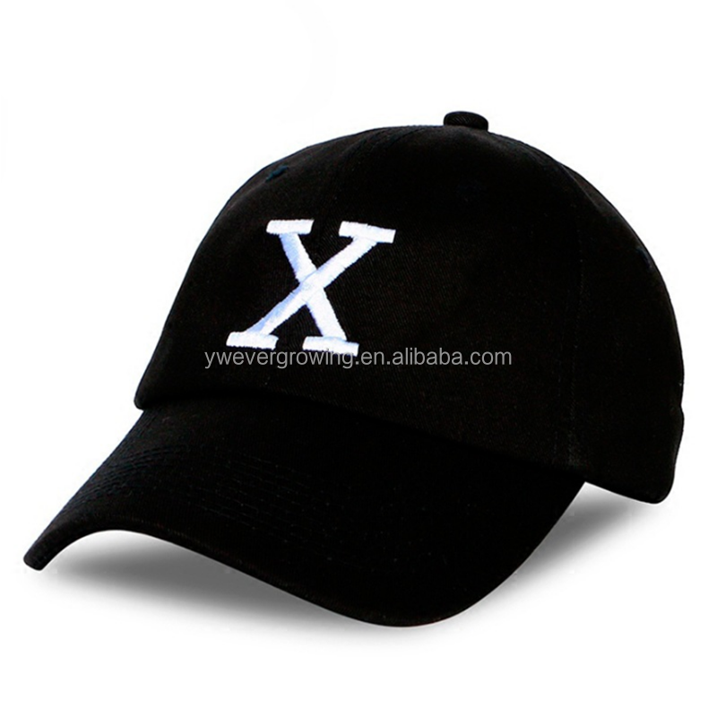 Hot Sales Wholesale Solid Color 100% Cotton Letter X Embroidery Baseball Cap With Metal Buckle