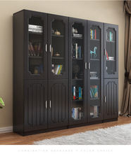 Fashion bookshelf wood bookcase with glass door models