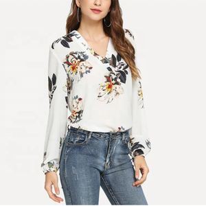 Wholesale Cheap Long Sleeve V neck Floral Printed Polyester White Pluz Size Shirts Women Chiffon Blouses