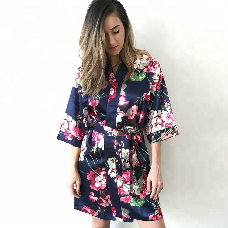Women Long Navy Blue Floral Satin Kimono Robe