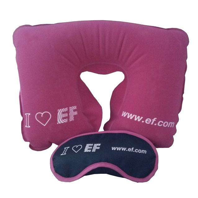 Velvet PVC Inflatable Neck Pillow Travel Pillow and Print Pillow