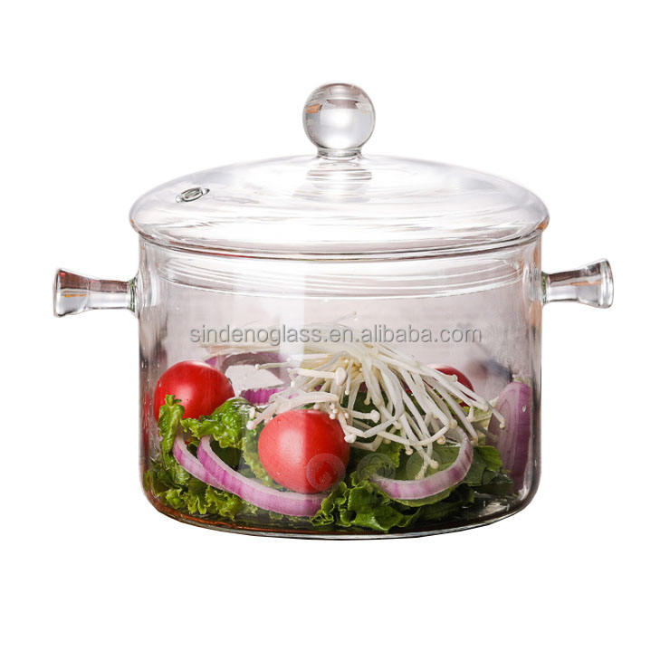 Transparent Borosilicate Clear Pyrex Heat Resistant Glass Cooking Pot Glass Soup Pot