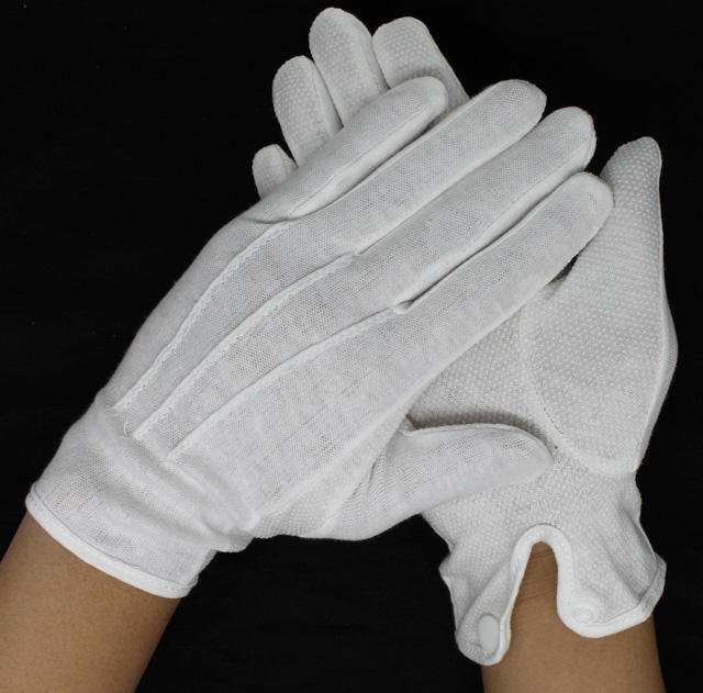 bleached white palm pvc dots cotton gloves