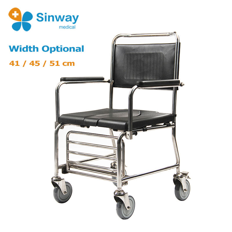 Mobile Drop Arm Stainless Steel Frame Commode Chair with Wheels