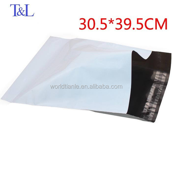 30.5*39.5+4cm in stock top sales online white and grey delivery plastic mailing bag