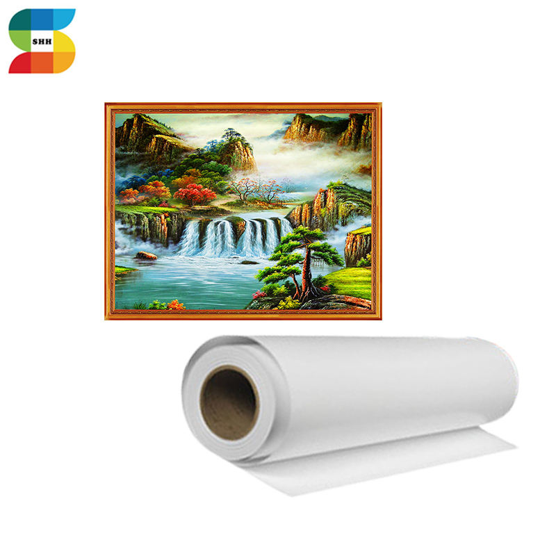 340gsm Waterproof Front Glossy Poly Cotton Canvas For Art