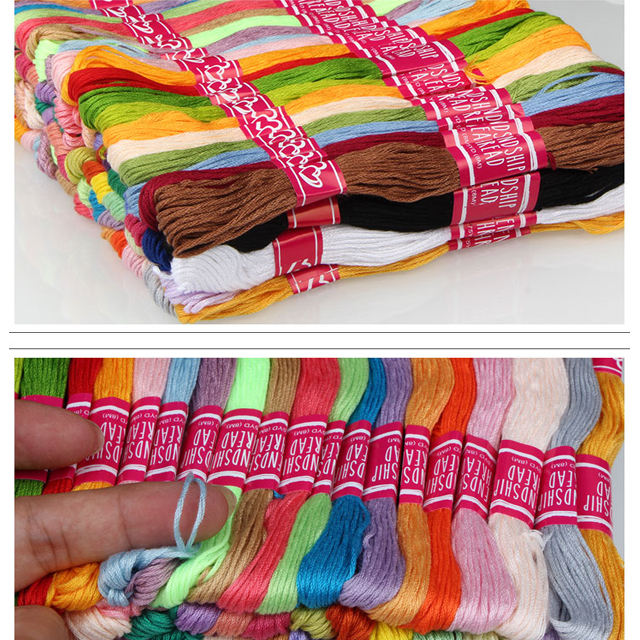 Friendship bracelets cotton threads Wish Hot Sale colorfully Skeins Friendship Rainbow Color Polyester Embroidery Thread