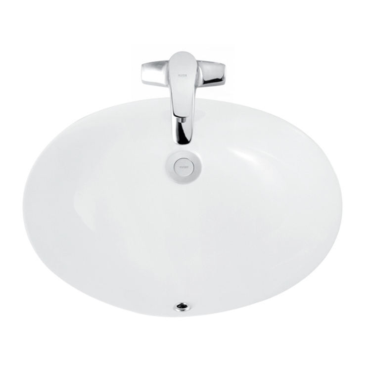 HUIDA white oval small bathroom hand washing santaryware under counter washbasin sink