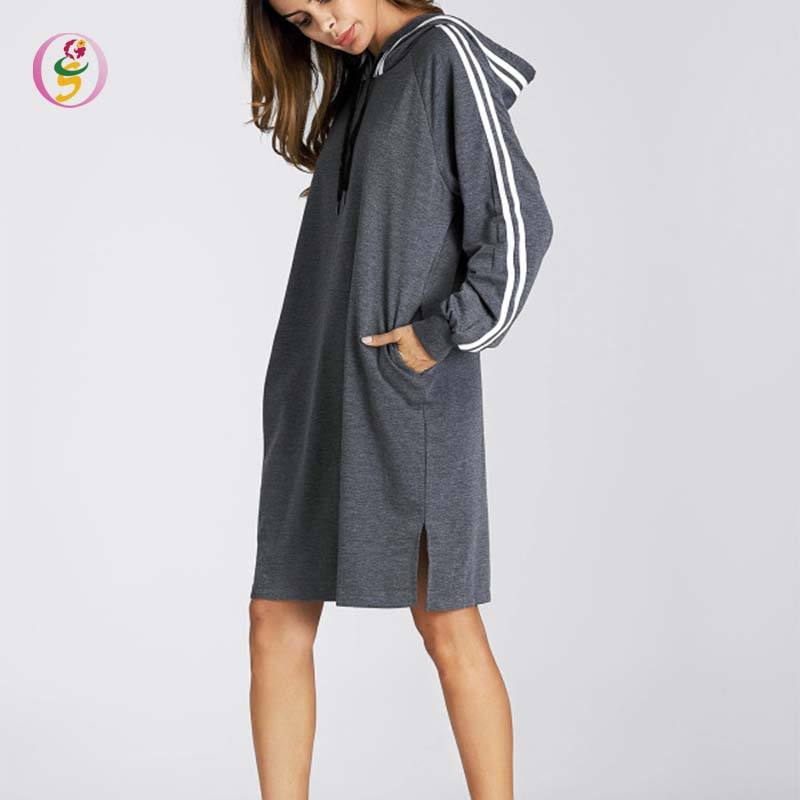 Women's Autumn Sweater banded Long Hoodie Striped High Quality Fashion Casual Plus dress